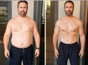 photo of man before and after EMS